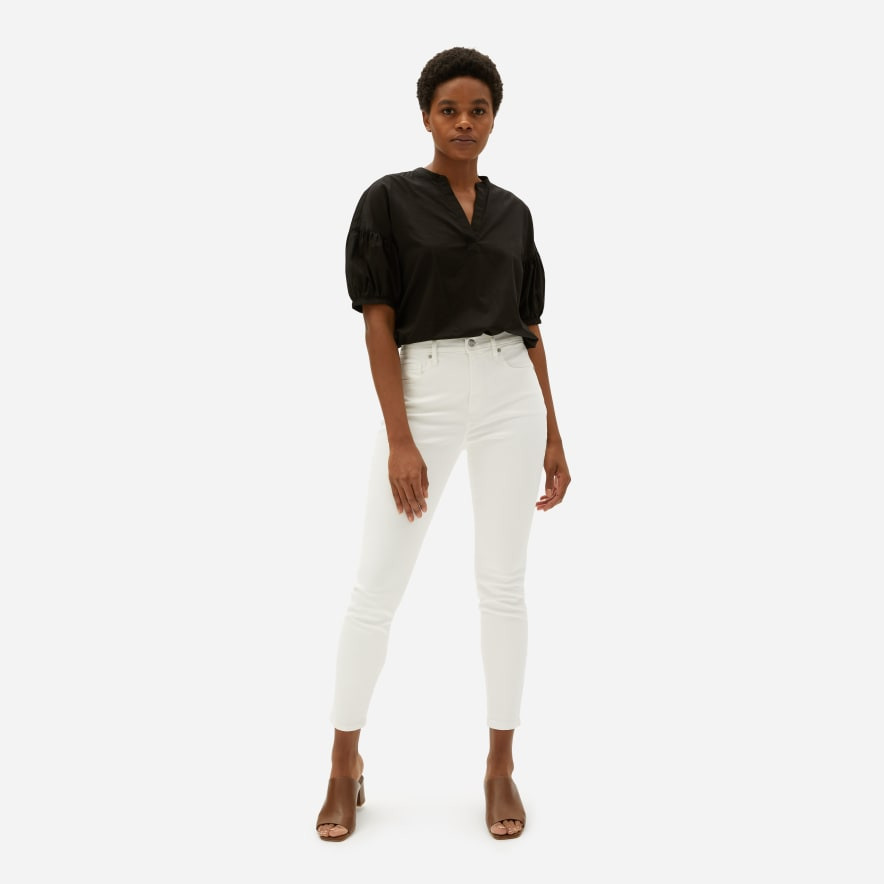 Everlane White Authentic Stretch High Rise Skinny
