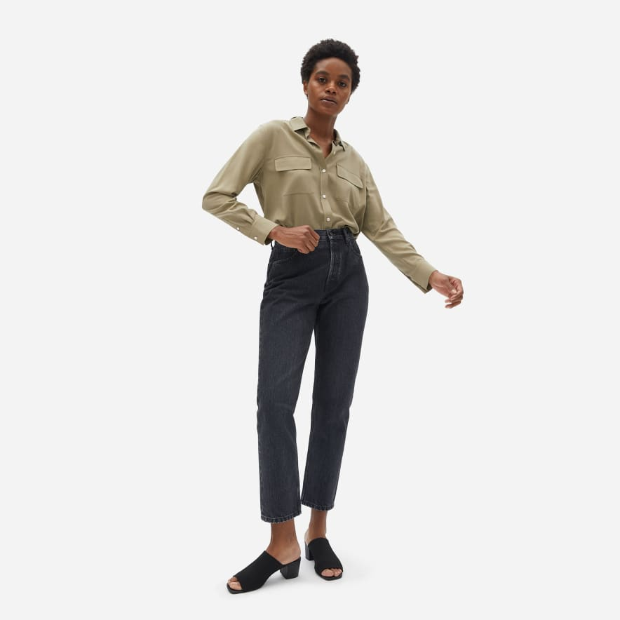 Everlane 90's Cheeky Straight Washed Black Jeans
