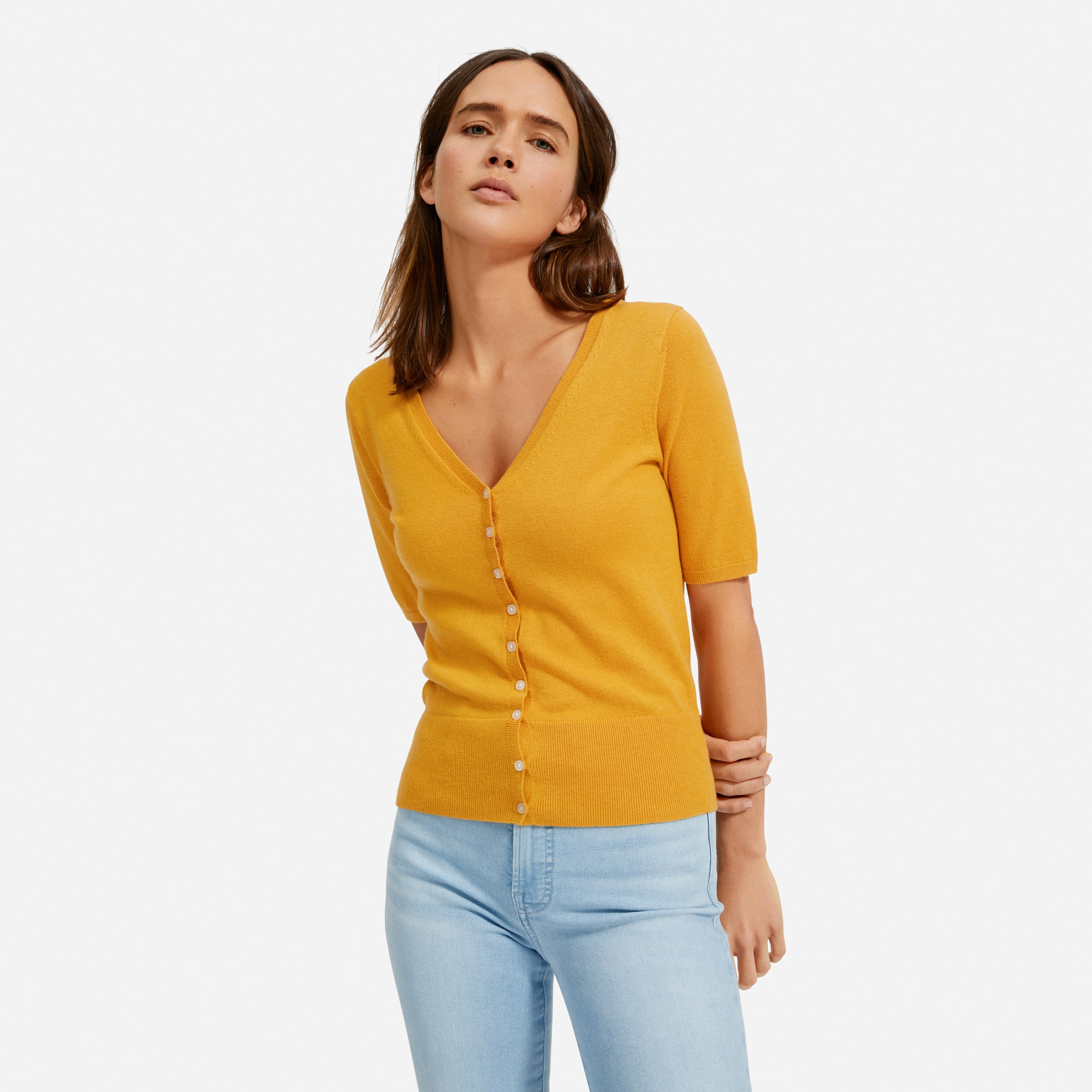 The Cotton Merino Short Sleeve Cardigan Everlane