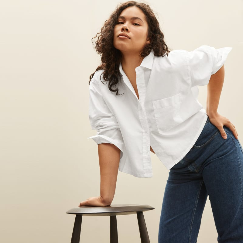 The Silky Cotton Cropped Shirt   Everlane