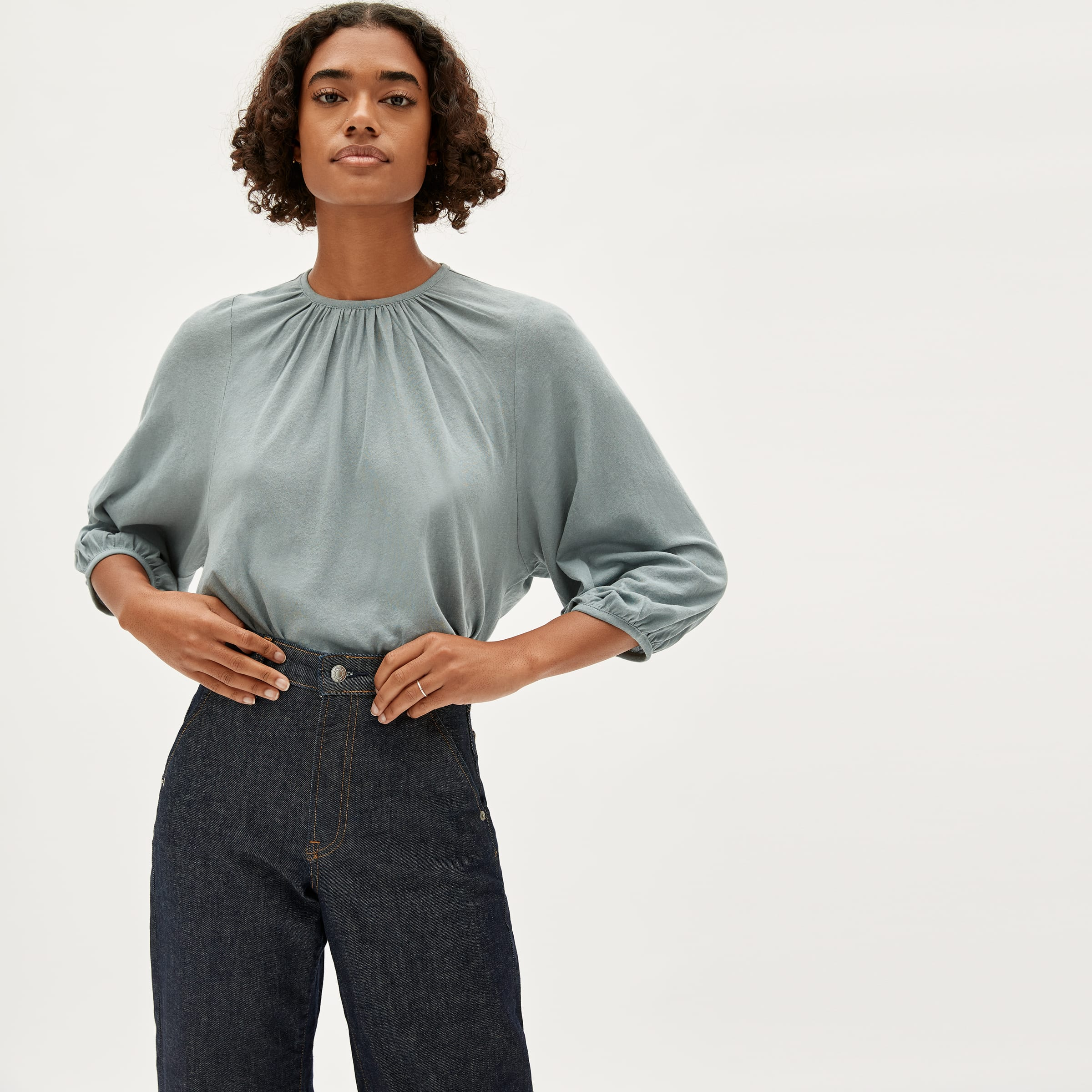 Everlane work from home outfit shirts.